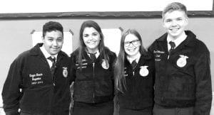 Poteet FFA attendees were left to right Markus Aguilar (member), Hannah Watts (Poteet FFA Vice President), Kylie Garcia (member) and Derek Scharmann (Poteet FFA Senitnel) COURTESY PHOTO