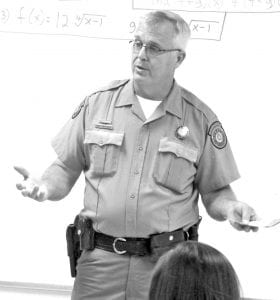 Jourdanton High School hosted Career Day in May. Among the presenters was Game Warden Jon Brauchle.