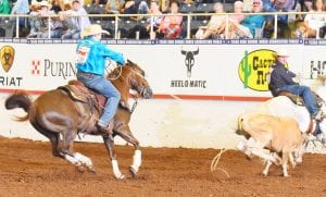 Pictured in both photos are Logan Moore and partner Jarett Freeman. The pair will be traveling to Shawnee, OK for the International Final Youth Rodeo on July 8-13. COURTESY PHOTOS