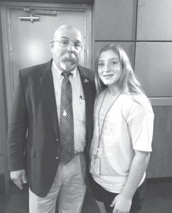 Jim Harris (left), McMullen County FFA teacher and father of member Charity Harris, was the motivational speaker at the District 12 4-H Leadership Lab this year. Pictured with him is Madilyn Vick who attended this year. Not pictured, but also attending, was Madison Maglievaz. MICHELLE PFIEL