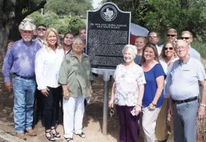 The family of Ben and Mona Parker were pleased at the large turn-out for the Texas Historical Marker dedication in Pleasanton. Pictured at the left hand side of the marker are: Jim Harris, Cotton Harris, Karen Harris, Charlsie Harris, Charlotte Parker Ramsey and Charity Harris. To the right hand side of the marker are Mary Parker Pool of Escondido, California and family. Charlotte and Mary are the two daughters of Ben and Mona Parker.