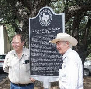 KBOP alumni Roy Holley (left) and Jerry King were among those attending the Texas Historical Marker dedication for Ben and Mona Parker and KBOP.