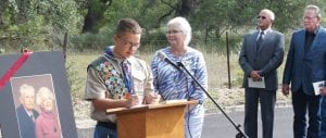 Among those taking part in the ceremony on June 30 were: Eagle Scout Danny Morrison II, Barbara Westbrook of the Atascosa County Historical Commission, Rev. Johnny Arrington and Pleasanton Mayor Travis Hall Jr. Hall also worked at KBOP for the Parkers while in high school. LISA LUNA | PLEASANTON EXPRESS PHOTOS