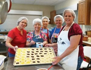 These ladies - JoAnn Wisenbaker, Betty Dornak, Mary Alice Daniel, Jeanette Kelley and Susan Netardus were busy baking kolaches for the Czech Day celebration this Sunday, July 15. The sausage and homemade sauerkraut meal and mass begins at 11 a.m. at St. Matthew Catholic Church in Jourdanton. DEBBIE NETARDUS | PLEASANTON EXPRESS