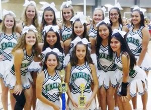 The PHS Varsity cheerleaders bring home 1st place and 2nd place awards from camp. Pictured left to right, back row are Hannah Richardson, Lexie Elsik, Kinsley Moore, Avery Brymer, Madeleine Guajardo, and Natalie Contreras; middle row: Calli Jones, Kalyssa Rios, Abbie Gentry, Lynda Rodriguez, and Gabby Palacios; front row: Sydney Sykes and Melody Johnson COURTESY PHOTO