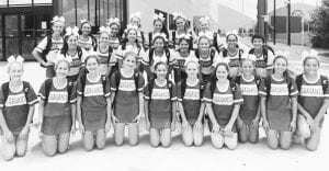 The PHS Varsity (standing) and JV (kneeling) cheerleaders on day one of Cheer Camp at Texas A&M University in College Station. COURTESY PHOTO