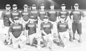 Pictured are the Poteet Junior Boys Little League team. Left to right, back row are Coach Albert Garza, Diego Garza, Jacob Gonzales, Coach Jose Guerra, Jordan Hammonds, Julian Moya, Joey Davila and Coach Kenneth Hammonds; front row are Carlos Herrera, Jose Guerra, Jaythan Zuniga and Darrin Garcia. COURTESY PHOTO