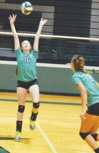 In the left photo, Pleasanton's Sarah Neill sets the ball. In the right photo, Kaycie Shannon gets a dig. TOM FIRME | PLEASANTON EXPRESS