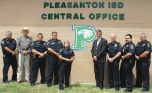 Pleasanton Police Chief Ronald Sanchez, Atascosa County Shefiff David Soward, Officer E. J. Lozano, Chief Humberto Torralba, Officer Debra Delgado, Pleasanton ISD Superintendent Dr. Matthew Mann, Officer Christopher McCuley, Officer Rene Garcia and Officer Daniel Pitts make up the 2018-2019 PISD School Safety team. Watch for a story on PISD School Safety Plan in upcoming issues. LEON ZABAVA | PLEASANTON EXPRESS