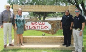 From left, Atassoca CountySheriff David Soward, Jourdanton ISD Superintendent Theresa McAllister, Jourdanton ISD Resource Officer Amelia Camacho and Jourdanton Chief of Police Eric Kaiser are ready for the first day of school, Aug. 16. The ACSO and the JISD LEO will be at each JISD campus to greet the students. Please watch for stories in upcoming issues on 2018-2019 school safety strategies. LEON ZABAVA | PLEASANTON EXPRESS