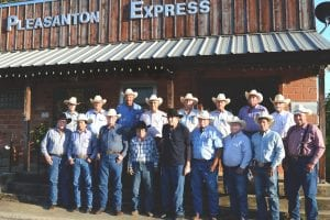 Seventeen former Cowboys of the Year gathered at the Pleasanton Express earlier this month to select this year's working Cowboy of the Year and inductees into the South Texas Cowboy Hall of Fame. This year's recipients will be honored before the Friday, August 17 Pleasanton Young Farmers Cowboy of the Year Open Rodeo at 7:30 p.m. Front row, left to right are Nixon Dillard (1995), Gene Hirsch (2010), Robert Bryan (1984), Jack Rutherford (1980), Steve Richter (1985), Leroy Krueger (2000), David Kaiser (2009), Gene Chapa (2016) and Charles Maddox (1987). Back row are Roy Hindes, III (2004), Darryl Ashley (1994), Gilbert Gonzales (1992), Mickie Clark (2003), Randy Mangum (2014), Roy Alonzo (2013) and Rocky Roberts (2008) SUE BROWN | PLEASANTON EXPRESS