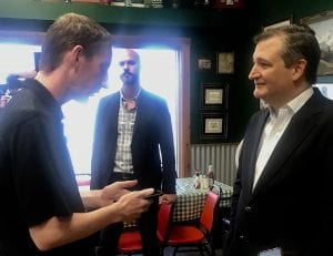 Tom Firme, Pleasanton Express Sports Editor and political science major, interviewed US Senator Ted Cruz during his stop in Pleasanton on August 17th. NOEL WILKERSON HOLMES | PLEASANTON EXPRESS