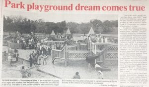 These were the dream makers who help build the park featured on the front page of the Pleasanton Express in 1987.