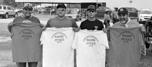 St. Ignatius Catholic Church in Christine held its Annual Church Picnic. Winners in the Washers Tournament were the second place team of Samuel Guajardo (far left) and Jesse Guajardo (far right), and the first place team of Matthew Isaac (second from left) and Joshua Isaac (third from left). JOE DAVID CORDOVA | PLEASANTON EXPRESS