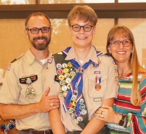 Pictured with Eagle Scout Blaine Walter Macmanus are his parents, Paul and Tera Macmanus.