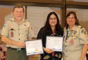 Pleasanton Express Lifestyles Editor Lisa Luna (center) received a special award of recognition from Boy Scout Troop 194, at their Eagle Scout Court of Honor on Sept. 8. Presenting the award were Terry Ellis, Longhorn District Executive and Joett Morrison, Assistant Scoutmaster. See related story on the front page of Living. BRANDON BELOW | COURTESY PHOTO