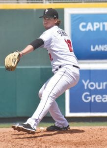 Pleasanton native Matt Shannon throws a pitch for the Lansing Lugnuts. PHOTO COURTESY OF MIGUEL ARCAUTE / LANSING LUGNUTS