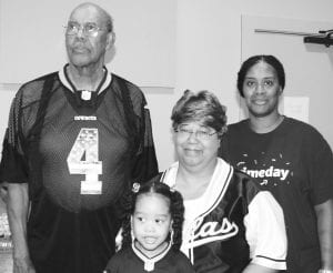 Reverend Junior Jones pictured with his family who attended the presentation on Monday. LEON ZABAVA | PLEASANTON EXPRESS