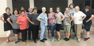 Some Sassy Seniors recently participated in line dancing led by Susan Ackerman. Pictured, left to right front row: Valerie Barta, Cindy Urrabazo, Mary Guerra, Stella Arguijo, Susan Ackerman, Yvonne Reese, Sherry Schuabauer, Linda Diaz, Mary Ann Barta and Kathleen Guerra; back row: Sally Garza, Rachel Castillo and Councilmember Diana Prasifka. AMANDA VELASQUEZ | PLEASANTON EXPRESS