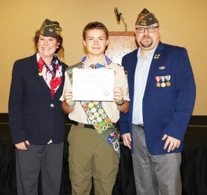 Eagle Scout Danny Morrison II accepted the VFW Post 12162 of Pleasanton award for Scout of the Year 2017-2018. Pictured left to right are Stephanie Pino, Founder and Quartermaster/Adjutant, Eagle Scout Danny Morrison II and Steve Mueller, Founder and Post Commander. JOETT MORRISON