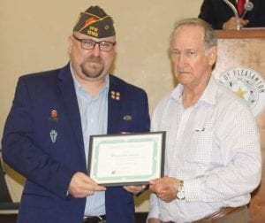 Post Commander Mueller presented the Pleasanton Express and Leon Zabava with a certificate of appreciation for outstanding coverage of VFW activities and events in Pleasanton. JOETT MORRISON