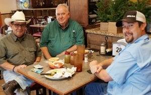 """Senator-Elect Pete Flores chats with Mike Hines, COO, Mesa Southern Well Servicing, LP and Alan Claiborne, CFO, Mesa Southern Well Servicing, LP at Mi Mexico. Hines said that Flores is well suited for the Senate as a former Texas Colonel Game Warden. """"He had to deal with people at all different levels as game warden. He will bring strong Texas values from a career of protecting people and wildlife. NOEL WILKERSON HOLMES   PLEASANTON EXPRESS"""