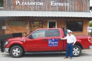 """Pete Flores stopped by the Pleasanton Express right after he announced his run for Texas Senate District 19 seat. In the last six weeks of his grassroots campaign, he put 5,000 miles on his truck """"Big Red"""". NOEL WILKERSON HOLMES   PLEASANTON EXPRESS"""