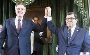 Lt. Governor Dan Patrick and newly sworn in Texas Senator Peter Flores raise hands in celebration. Senator Flores, resident of Pleasanton, is the first Hispanic Republican Senator in the State of Texas. COURTESY PHOTO