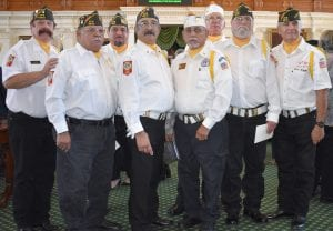 Poteet VFW Post 6970 Color Guard participated in the swearing in ceremony for Peter Flores in Austin on Oct. 15. Pictured, left to right, are James Koutny, Martin Llamas, Jr., Felix Bermea, Roy Casarez, David H. Guerrero, Franklin Risley, Danny Malone and Ernest Soliz. BRUCE MELCHER | PLEASANTON EXPRESS