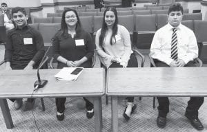 Charlotte High School students Brandon Sanchez, Lucy Benavides, Rhianna Bautista and Jesse Cantu played the role of lobbyists during the 15th Student Legislative Session in Austin last week. CONTRIBUTED BY LUIS LOPEZ