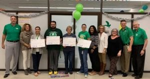 Fifth Grade teachers display their funding that will go toward their Google Expedition project. Pictured l to r are Carey Troell, Krystal Pilgrim, Erica Bernal (elementary principal), Jarod Bellanger, Sarah Hill, Joelle Van Curan, Gabriela Royal, Karyn Tom, Sue Brown, Superintendent Matthew Mann and Ken Donoughue. CONTRIBUTED PHOTO | PLEASANTON ISD EDUCATION FOUNDATION FACEBOOK PAGE