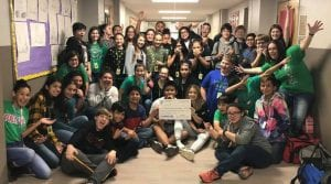 Seventh grade science students show their excitement for receiving funds to purchase digital microscopes. CONTRIBUTED PHOTO | PLEASANTON ISD EDUCATION FOUNDATION FACEBOOK PAGE
