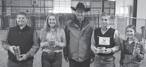 Pictured left to right are Reserve Sr. Swine - Trey Hagen, Sr. Swine Champion - Kendall Niemietz, judge Jeff Heffernan, Jr. Swine Champion - Jayce Krauskopf and Reserve Jr. Swine- Brooke Rankin. CONTRIBUTED