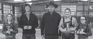 Pictured left to right are Reserve Jr. Cattle - Brooke Rankin, Sr. Cattle Champion - Jake Rankin, judge Jeff Hefferman, Reserve Sr. Cattle - Kendall Niemietz and Jr. Cattle Champion - Sadie Schimelpfening.. CONTRIBUTED