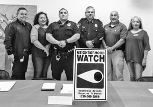 The East Side Community Neighborhood Crime Watch held their first meeting on Thursday, Dec. 6. Pictured left to right are Pleasanton City Manager Johnny Huizar, Rose Dillard (Organizer), Officer Chris Treviño, Pleasanton Chief of Police Ronald Sanchez, Assistant Chief Johnny Gonzales and Rachel Gomez (Organizer). Officer Treviño will be the police liaison for the group through the Pleasanton Police Department. CONTRIBUTED PHOTO