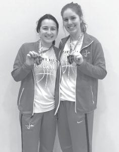 Jourdanton's Cladi Muñoz (left) and Erin Soward (right) with their Randolph All-Tournament medals. CONTRIBUTED PHOTO