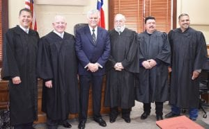 Judges sworn in on Tuesday, January 1, 2019, from left. County Court-at-Law Judge Bob Brendel, District Judge Lynn Ellison, County Judge Bob Hurley, Justice of the Peace, Pct. 2, Kyle D. Bradley; Justice of the Peace, Pct. 1, Felix Herrera III; and Justice of the Peace, Pct. 3, Orlando Carrasco. BRUCE MELCHER| PLEASANTON EXPRESS