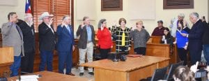 "County officials being sworn in by County Judge Bob Hurley, from left, are Justice of the Peace Orlando Carrasco, Pct. 3; County Commissioner Kennard ""Bubba"" Riley, Pct. 4; County Commissioner Stuart Knowlton, Pct. 2; County Commissioner Mark Gillespie, Pct. 1; County Treasurer Laura Pawelek, County Clerk Diane Gonzales and District Clerk Margaret E. Littleton. BRUCE MELCHER