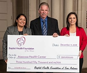 Atascosa Health Center recently received a $350,000 grant from Baptist Health Foundation of San Antonio.