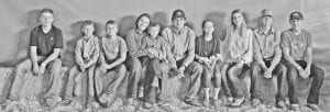 From left: Derek Scharmann, Chase Rankin, Ely Rankin, Hunter R. Rankin holding Easton Rankin, Ethan Ayala, Brooke Rankin, Blair Rankin Jake Rankin and Hunter S. Rankin at the 2017 Atascosa County Stock Show and Rodeo. CONTRIBUTED PHOTO
