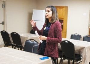 Safer Path Crisis Advocate Adrianne Mendez describes some of the features of the kitchen area at the shelter.