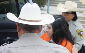 Jenevieve Ramos pled guilty Monday morning at the Atascosa County Courthouse in the Officer Deckard murder. LEON ZABAVA   PLEASANTON EXPRESS