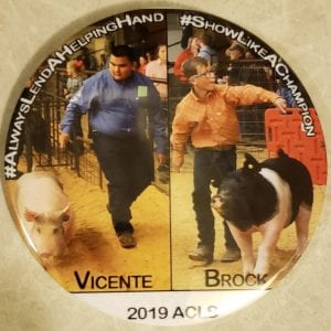 More than $1,400 was raised for a swine scholarship fund in honor of JHS junior Vicente Valero and Jourdanton 7th grader Brock Powell. The memorial buttons were created by Memories on Main Street, owned by Tammy Shannon, who was the ACLS official photographer.