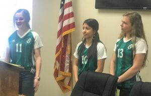 Lady Eagles Soccer speaks to the Pleasanton Rotary. Pictured, left to right, Madelyn Bird, Delaney Olivarri and Kate McNeill. NOEL WILKERSON HOLMES | PLEASANTON EXPRESS