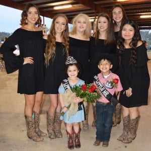 Pictured are the 2018 Pleasanton Cowboy Homecoming Court. In front are Little Miss Cowboy Homecoming Carlie Christine Mejia and Little Mister Cowboy Homecoming Jakub James Swick. They are joined by, back row, left to right: Princess Megan Huizar, Princess Bobbie Rice, Princess Perri Alexander, Queen Amber Guerra, Queen Aubrey Guerra and Princess Bailey Lopez.