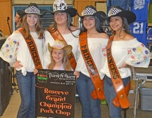KidsQue Reserve Grand Champion is Dakotah Bade (front center) winning $200. Pictured with are the 2019 Homecoming Court Princess Abby Izaguirre, Queen Elena Ortiz, Princess Gabby Martinez and Princess Valentina Gasca. JOE DAVID CORDOVA   PLEASANTON EXPRESS