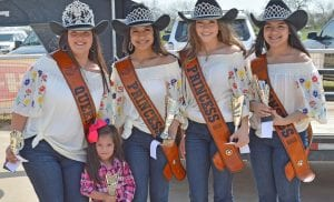 The Overall Winner of the 2019 Cowboy Homecoming Lil' Darlin' Contest was Rhylynn Rae Rodriguez. She is pictured with the 2019 Cowboy Homecoming Court, from left, Queen Elena Ortiz, Princess Valentina Gasca, Princess Abby Izaguirre and Princess Gabby Martinez. JOE DAVID CORDOVA | PLEASANTON EXPRESS