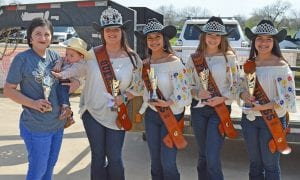 Winning Best Cowgirl and Most Beautiful in the 0-12 months division was Harper Swan. She is pictured with the 2019 Cowboy Homecoming Court, from left, Queen Elena Ortiz, Princess Valentina Gasca, Princess Abby Izaguirre and Princess Gabby Martinez. JOE DAVID CORDOVA | PLEASANTON EXPRESS