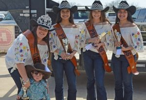 Mattisynn Popham won Best Cowgirl in the 1-2-year-old division She is pictured with the 2019 Cowboy Homecoming Court, from left, Queen Elena Ortiz, Princess Valentina Gasca, Princess Abby Izaguirre and Princess Gabby Martinez. JOE DAVID CORDOVA | PLEASANTON EXPRESS