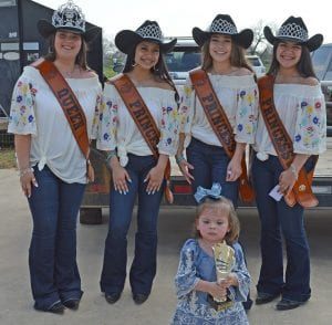 Emerie Lamza won Most Beautiful in the 1-2-year-old division She is pictured with the 2019 Cowboy Homecoming Court, from left, Queen Elena Ortiz, Princess Valentina Gasca, Princess Abby Izaguirre and Princess Gabby Martinez. JOE DAVID CORDOVA | PLEASANTON EXPRESS